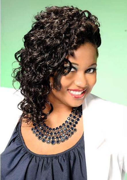 Elegance with side curls hairstyles for black women