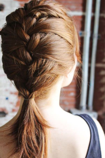 Four strand French braid with Ponytail mid length hairstyles