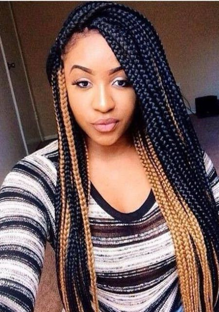 Marvelous and multi-colored long box braids