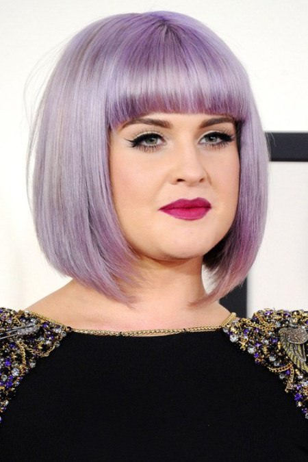 Purple haze bob with bangs short hairstyles for round faces