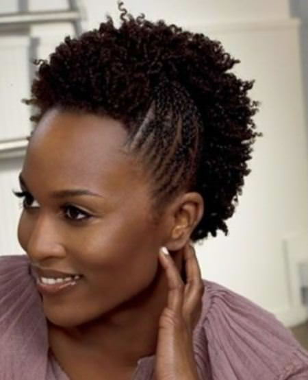 Sectioned mohawk easy hairstyles for natural hair