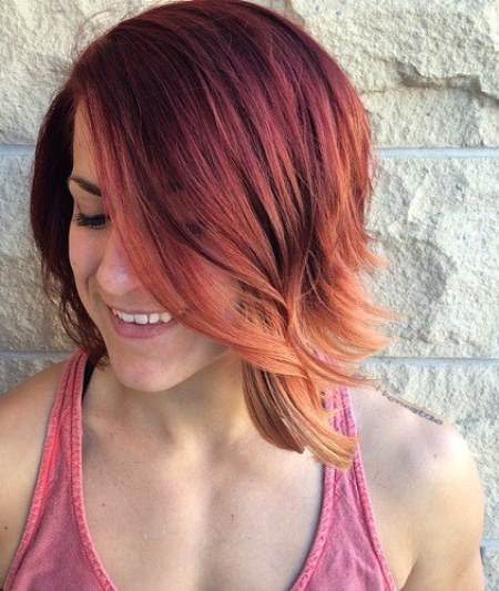 Sunset ombre with a line long bob haircuts