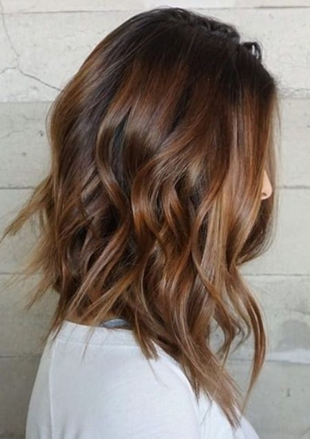 Wavy lob hairstyles for shoulder length