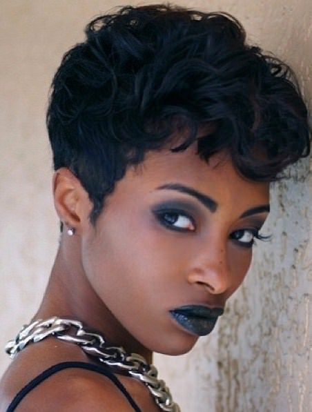 Waxy pixie hairstyles for black women