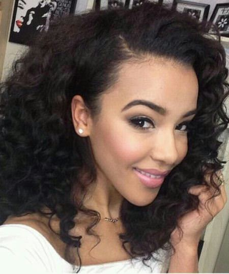 Weave with shoulder length curls hairstyles for black women