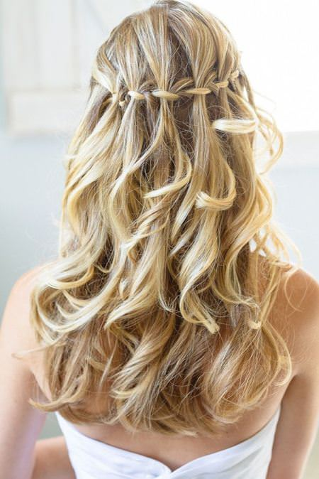 Whimsical water fall hairstyles for shoulder length