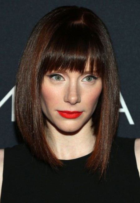 angled lob with blunt bangs short haircuts for thick hair