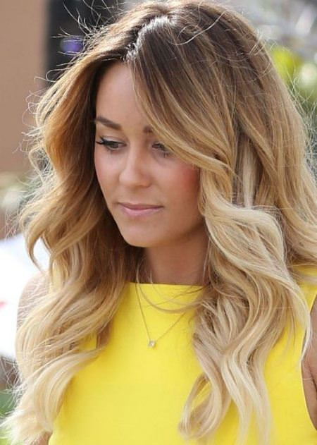 caramel waves with bleached bangs