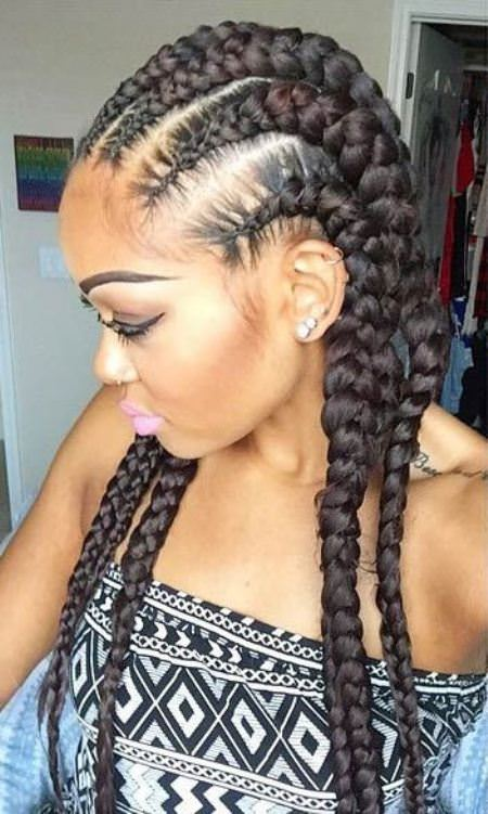 chunky cornrow for long hair black women hairstyles