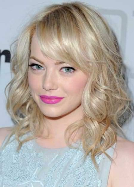 curled lob with horizontal bangs curly hairstyles for girls