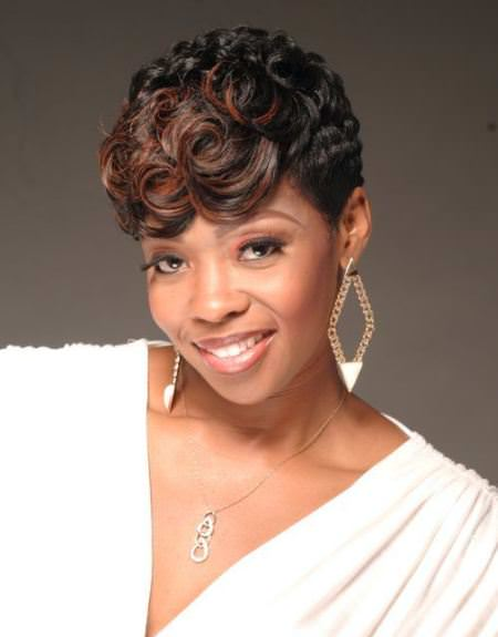 curly cropped hairdo with swirled bangs short hairstyles for black women