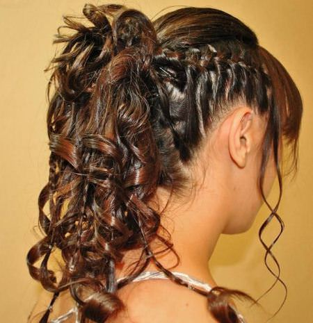 curly ponytail with side braid curly hairstyles for girls