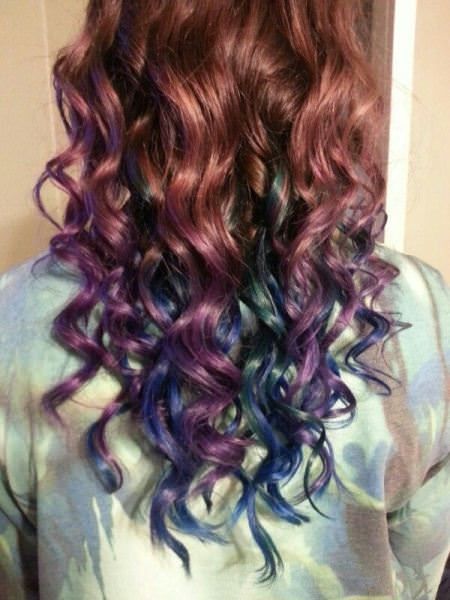 dark brown with blue and purple lavender ombre hair and purple ombre