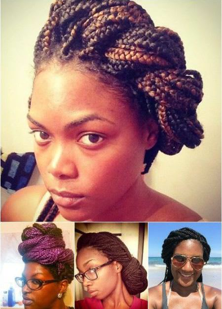 double twisted updo black braided hairstyles