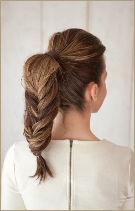 fishtail braid with a pony mid-length hairstyles