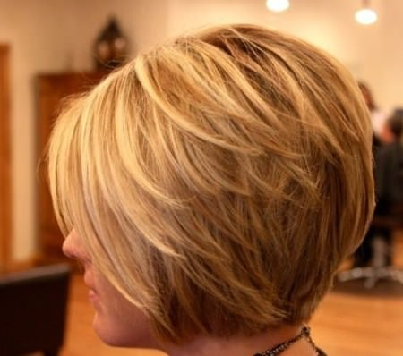flicked back stacked bob hairstyles for women