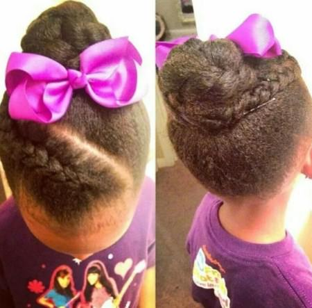 french braided Updo black girl hairstyles