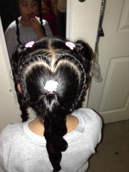 heart shaped braid with curled ponytail braids for kids