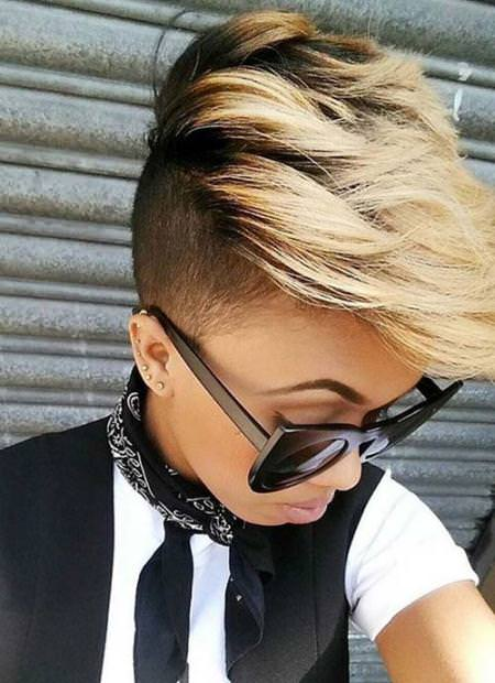 highlighted undercut short hairstyles for black women