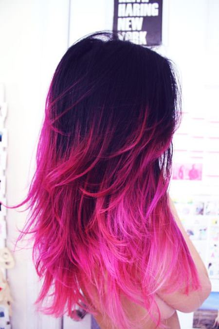 hot pink lavender ombre hair and purple ombre