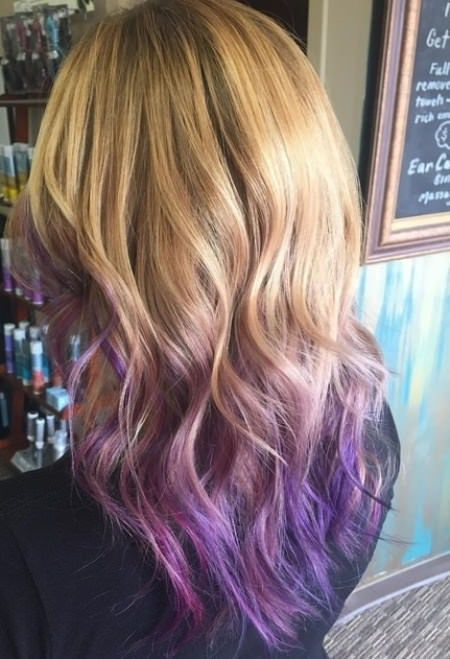 layer bronde waves lavender ombre hair and purple ombre