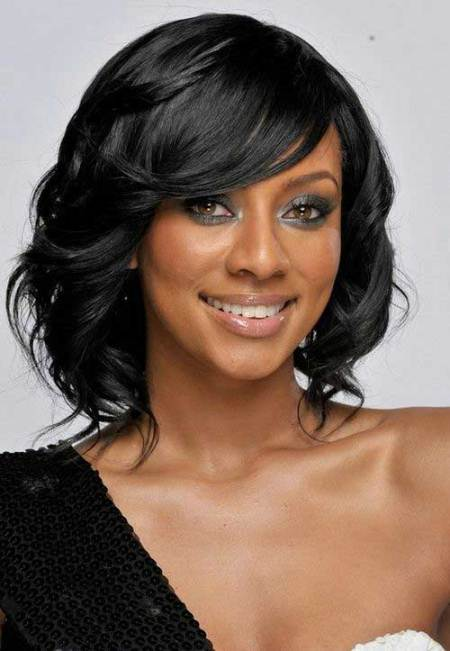 layered black short hairstyles with bangs