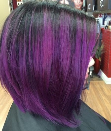 long black bob with purple ends lavender ombre hair and purple ombre