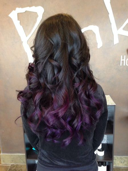 long black purple hair with curly ends lavender ombre hair and purple ombre