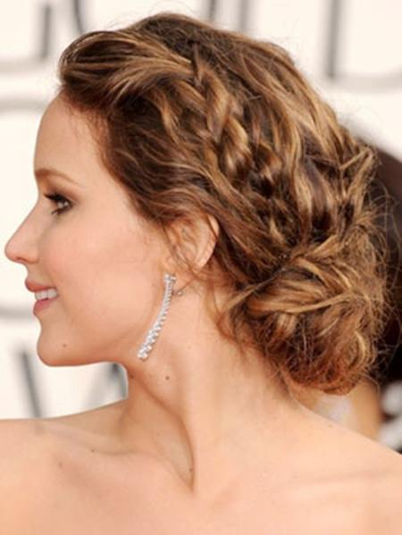 low side bun with braids mid length hairstyles