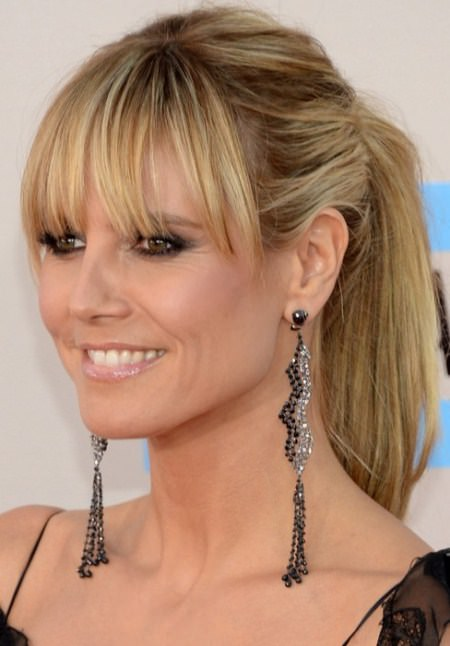 ponytail with wispy bangs hairstyles for women over 40