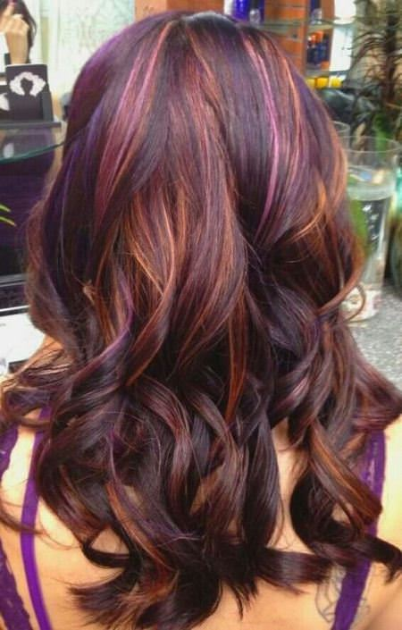 purple hair with balayage highlights with dark brown base lavender ombre hair and purple ombre