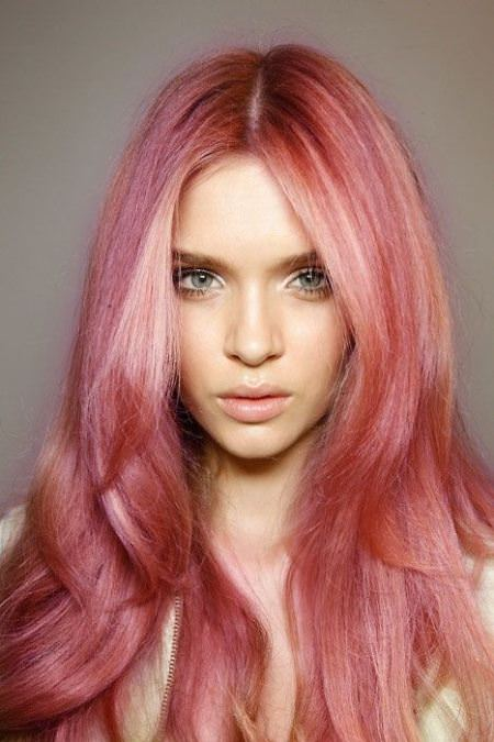 rosy pastel hair color