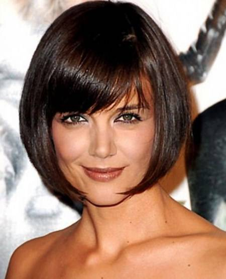 rounded bob with side bangs short haircuts for thick hair