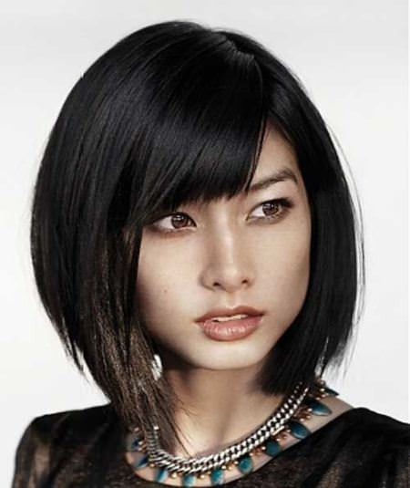 short bob haircuts with angled bangs