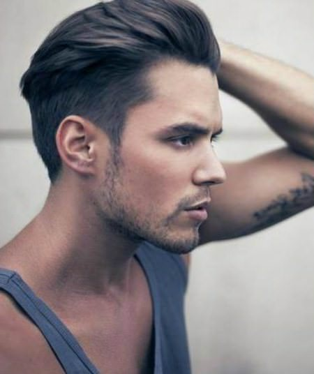 side and swept black long hairstyles for men