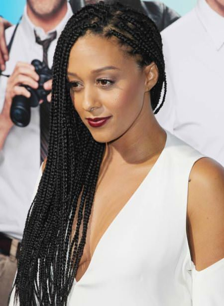 side part full length black braided hairstyles
