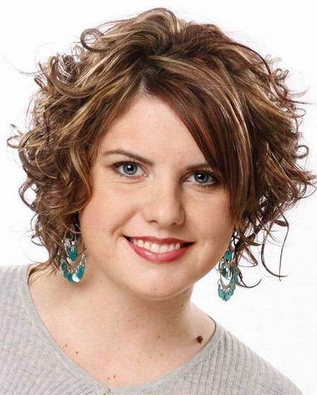 soft curly downdo short hairstyles for round faces