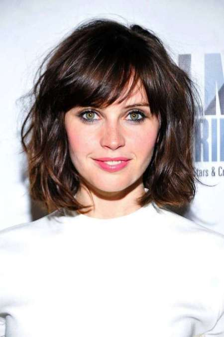 tousled short bob haircuts with bangs