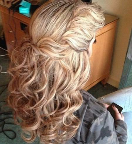 twist and pin up half curly hairstyles for girls