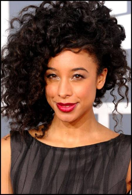 updo with side curls short hairstyles for black women