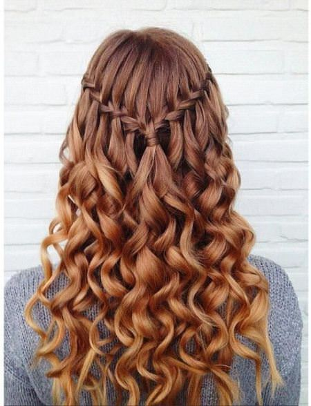 waterfall braid curly hairstyles for girls