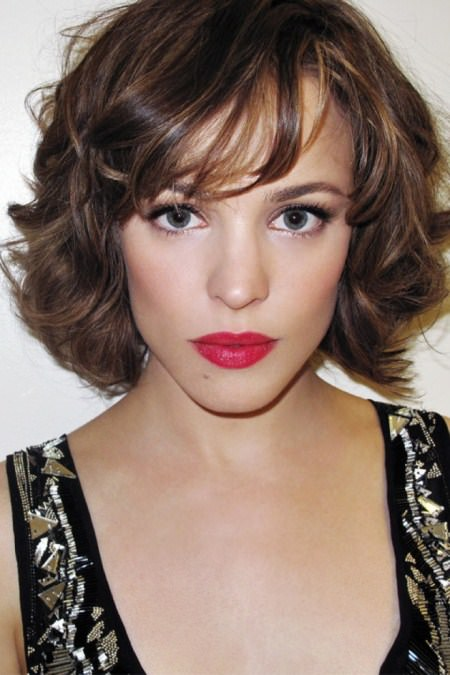 wavy short bob haircuts with parted bangs