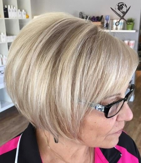 Angled ash blonde bob hairstyles for older women