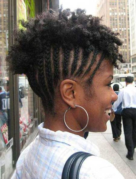 Braided mohawk natural hairstyles for short hair