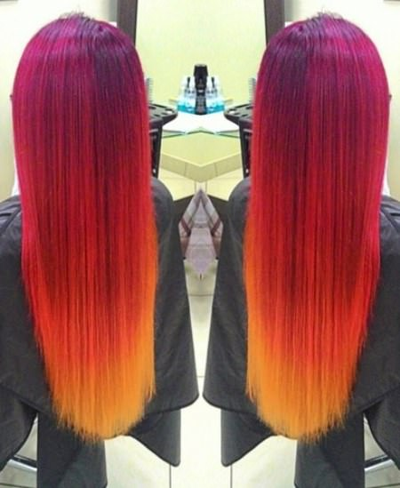 CreativAe and bright stylish ombre straight hair