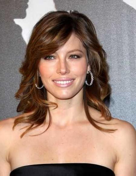 Curly style with side bang medium length hairstyles for women