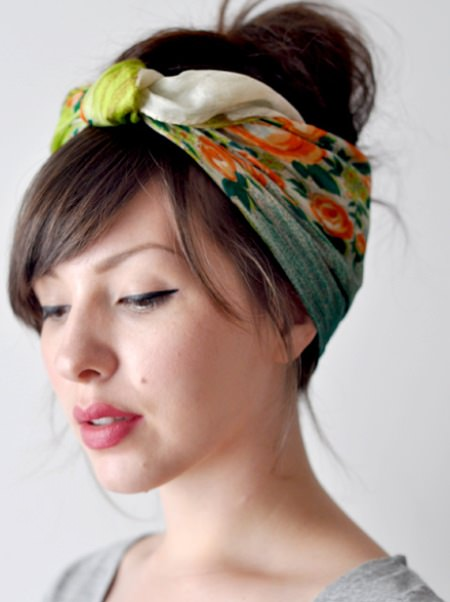 Knotted headscarf natural hairstyles for short hair
