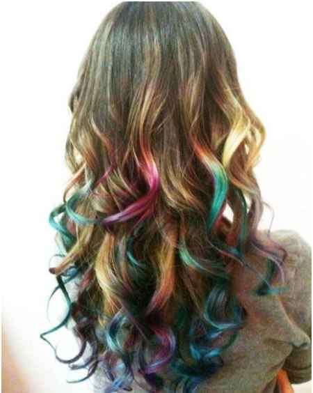 Multicolored highlights stylish ombre straight hair