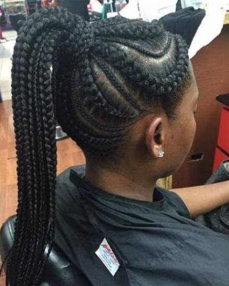 Revamped ponytail french braids for black women