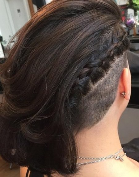 Shaved with diagonal braid medium length hairstyles for women